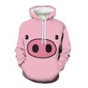 Popular Mens Cartoon Pig Print Long Sleeve Kangaroo Pocket Loose Hoodie in Pink