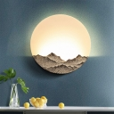 Full Moon Behind Mountain Mural Light Modern Acrylic Bedroom LED Wall Lamp in Blue/Brown