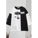 Stylish Womens Japanese Letter Demon Graphic Colorblock 3/4 Sleeve Crew Neck Loose T Shirt in Black and White