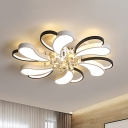 Black-White Flower Blossom Flush Light Contemporary Iron Bedroom LED Close to Ceiling Lamp with Crystal Drop