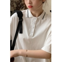 Preppy Looks Half Sleeve Striped Turn-down Collar Button up Relaxed Fit Polo Shirt for Girls