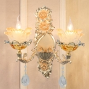 2-Bulb Layered Flower Sconce Light Retro Gold Frosted Glass Wall Lighting Ideas for Living Room