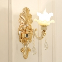 1-Light Double Layer Ruffle Sconce Traditional Gold Milk Frosted Glass Wall Lighting with Carved Backplate