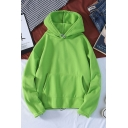 Simple Solid Color Pocket Drawstring Long Sleeve Relaxed Fit Hooded Sweatshirt for Men