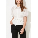 Formal Womens See-through Mesh Puff Sleeve Point Collar Button up Bow Tied Waist Regular Fit Shirt Top in White