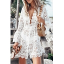 Sexy Ladies Solid Color Sheer Lace Bell Sleeve Scallop Deep V-neck Drawstring Waist Short Pleated A-line Dress in White