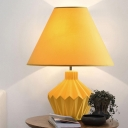 Yellow Conical Shade Desk Light Traditional Fabric 1 Bulb Living Room Ceramics Table Lamp