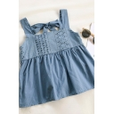 Chic Girls Solid Color Embroidery Anglaise Cut Out Bows Open Back Peplum Square Neck Sleeveless Loose Fit Smock Tank Top