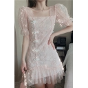 Gorgeous Ladies Solid Color Sheer Mesh Sequined Frog Button up Ruffled Applique Puff Sleeve Square Neck Mini A-line Dress