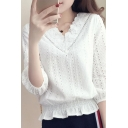 Fancy Ladies Hollow out 3/4 Sleeve Scallop Lace Trim V-neck Stringy Selvedge Relaxed Blouse Top in White