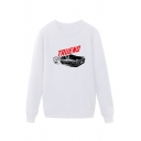 Cool Mens Car Pattern Letter Truend Pullover Long Sleeve Round Neck Regular Fit Graphic Sweatshirt