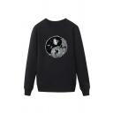 Chic Mens Tai Ji Diagram Skull Pattern Pullover Long Sleeve Round Neck Regular Fitted Sweatshirt