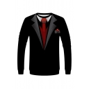 Creative Mens 3D Tie Note Fire Water Pattern Pullover Long Sleeve Round Neck Fitted Sweatshirt