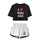 Chic Letter I You 3000 Heart Graphic Short Sleeve Crew Neck Fit Cropped Tee & Contrasted Shorts Set for Girls
