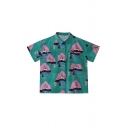 Cool Girls Letter Camping Cartoon Tent Printed Collar Short Sleeve Loose Fit Graphic Shirt in Green