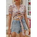 Pretty Womens Allover Floral Print Short Sleeve V-neck Hollow out Tied Front Fit Cropped T Shirt in Pink
