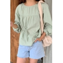 Trendy Green Long Sleeve Round Neck Drawstring Relaxed Fit Blouse Top for Women