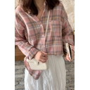 Trendy Plaid Print Chest Pocket Long Sleeve Turn-down Collar Button down Relaxed Fit Shirt Top for Girls