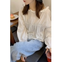 Lovely Girls Stringy Selvedge Ruffled Blouson Sleeve Round Neck Bow Tied Back Relaxed Blouse in White