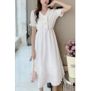 Stylish Ladies White Stringy Selvedge Pintuck Pearl Button Detail Puff Sleeve V-neck Ruffled Mid A-line Dress