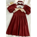 Elegant Girls Bow Pleated Tie Back Square Neck Short Puff Sleeve Midi A Line Red Dress with Choker