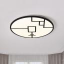 Round Metallic Flush Mounted Light Minimalist White/Black Finish LED Patterned Flush Lamp Fixture