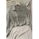 Unique Plaid Fake Flap Pockets Button Down Collared Long Sleeve Regular Fit Cropped Blouse Top for Girls