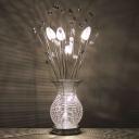 Chrome Vase and Fern Night Table Lamp Art Deco Aluminum Wire LED Bedroom Desk Lighting