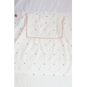 Lovely Girls Colorful Heart Embroidered Contrasted Ruffle Hem Crew Neck Short Relaxed Fit Shirt in White