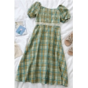 Vintage Womens Plaid Patchwork Lace Button Detail Square Neck Short Puff Sleeve Midi A Line Dress in Green