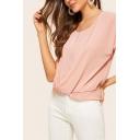 Elegant Womens Chiffon Short Sleeve Round Neck Twist Hem Relaxed T-shirt in Pink