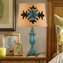 Traditional Square Pedestal Table Light Single Light Resin Nightstand Lamp with Drum Patterned Fabric Shade in Blue, 21