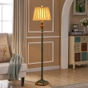 Single Stand Up Lamp with Barrel Shade Pleated Fabric Antiqued Parlour Floor Light in Pewter