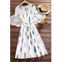 Fashion Girls Cartoon Tree Printed Button Ruched Drawstring Crew Neck Short Sleeve Midi A Line Dress in White