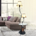 2 Lights Scalloped Shade Floor Table Light Countryside White/Black Finish Fabric Tree Stand Up Lamp