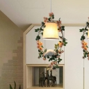 1 Bulb Hanging Light Kit Countryside Barrel Fabric Pendulum Lamp with Bird and Garland Deco in White