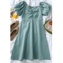 Stylish Womens Solid Color Ruched Button Zip Side V Neck Short Bishop Sleeve Midi A Line Dress