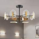 3 Blades Acrylic Round Panel Fan Lamp Minimalism 12-Head 39