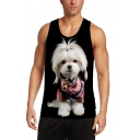 Cool Mens Tank Top 3D Dog Printed Slim Fitted Sleeveless Crew Neck Tank Top