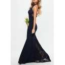 Formal Womens Solid Color Sleeveless Halter Backless Sheer Lace Maxi Fishtail Gown in Navy