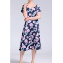 Blue Trendy All over Floral Printed Short Sleeve V-neck Mid A-line Dress for Women