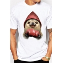 Chic Mens White Tee Top Sloth Boxing Glove Pattern Round Neck Regular Fit Short Sleeve Tee Top