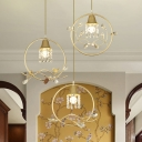 Circular Dining Table Cluster Pendant Postmodern Metal 3-Bulb Gold Hanging Lamp with Crystal Accent