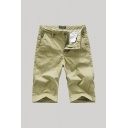 Unique Men's Shorts Solid Color Zip Fly Button Detail Straight Fit Chino Shorts with Pockets