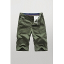 Cozy Mens Shorts Solid Color Zip Fly Button Detail Knee Length Straight Fit Chino Shorts with Pockets