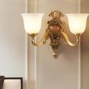 Brass Finish 1/2-Bulb Wall Mount Lighting Vintage Cream Glass Bedroom Wall Lamp Fixture