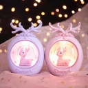 2 Packs Deer Statue Small Table Lamp Kids Resin Pink/Purple Battery LED Nightstand Light
