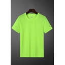 Gym Guys Quick-dry Solid Color Short Sleeve Crew Neck Loose Fit Tee Top