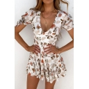 Popular Womens All over Flower Printed Bow Tie Short Sleeve V-neck Ruffled Mini Pleated A-line Dress