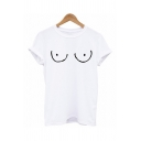 Basic Guys Pattern Roll up Sleeves Crew Neck Relaxed Fit T-shirt in White